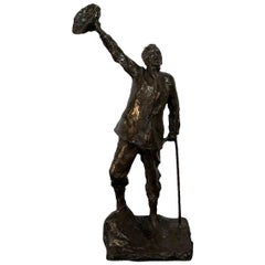 19th Century French Bronze Sculpture, The Wanderer by Aime Jules Dalou