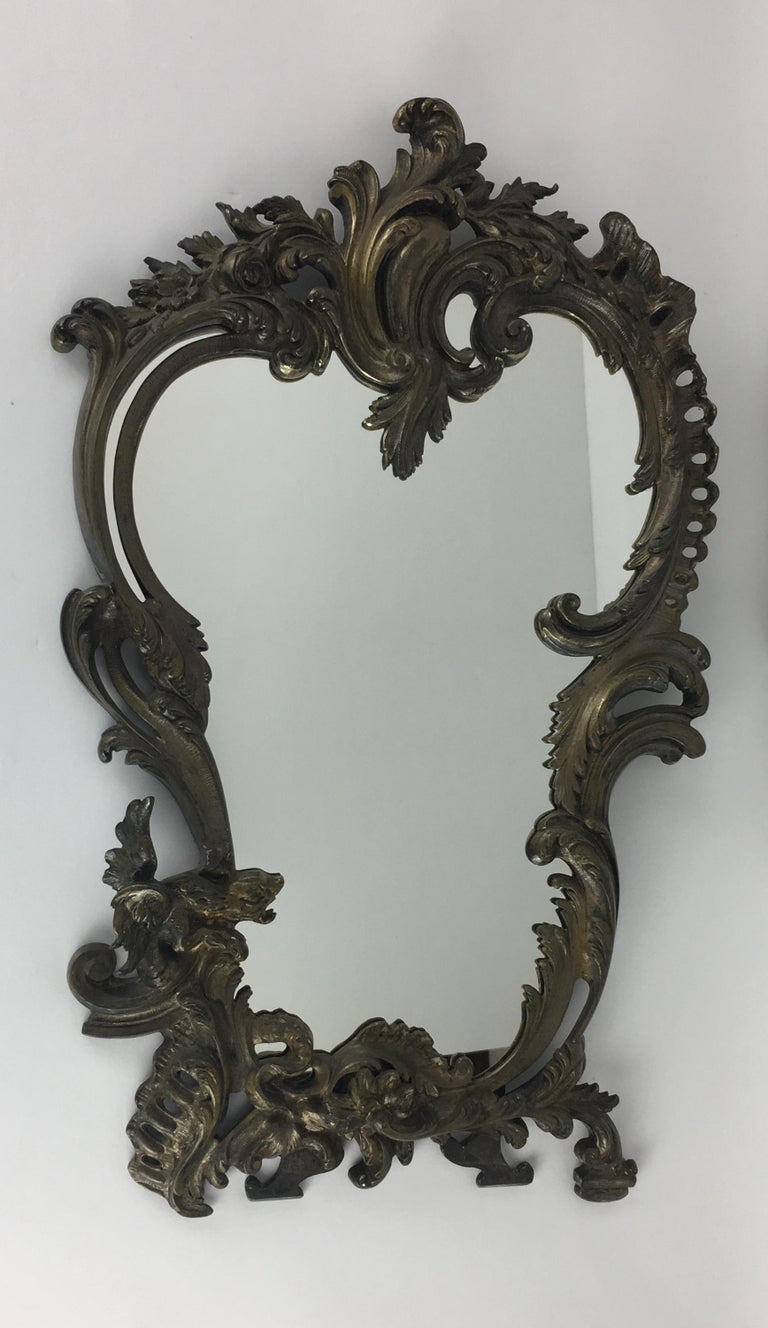 Rococo 19th Century French Bronze Silver Plated Table Mirror For Sale