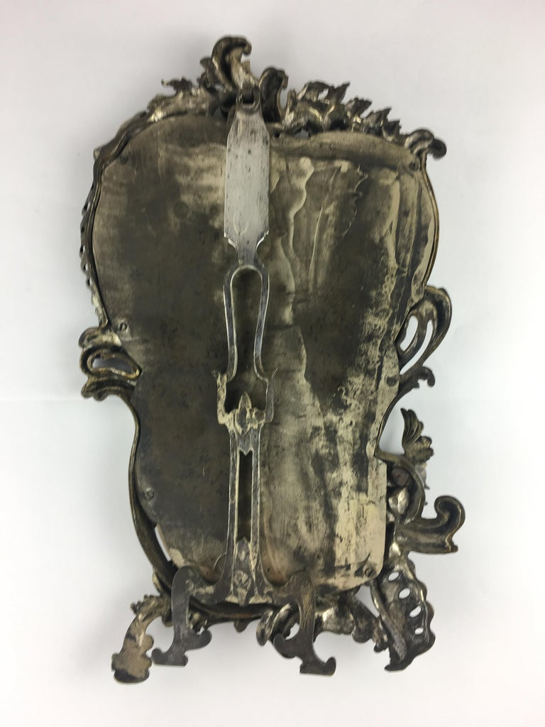 19th Century French Bronze Silver Plated Table Mirror For Sale 2