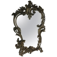19th Century French Bronze Silver Plated Table Mirror