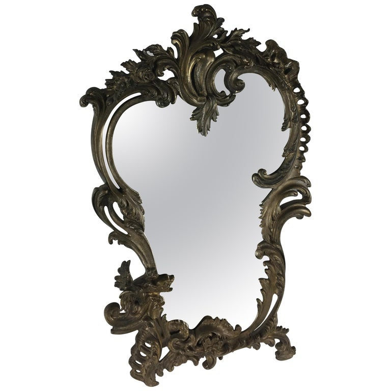19th Century French Bronze Silver Plated Table Mirror For Sale