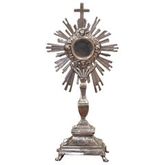 19th Century French Bronze Silvered Catholic Monstrance with Cross & Wheat Decor