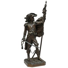"19th Century French Bronze Soldier ""32nd Demi-Brigade,"" Artist Signed"