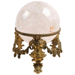 19th Century French Bronze Stand with Rock Crystal Ball