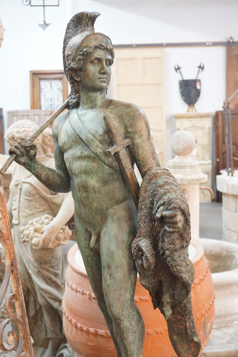 This bronze statue originates from France circa 1880.   Measurements: 50'' H x 16'' D