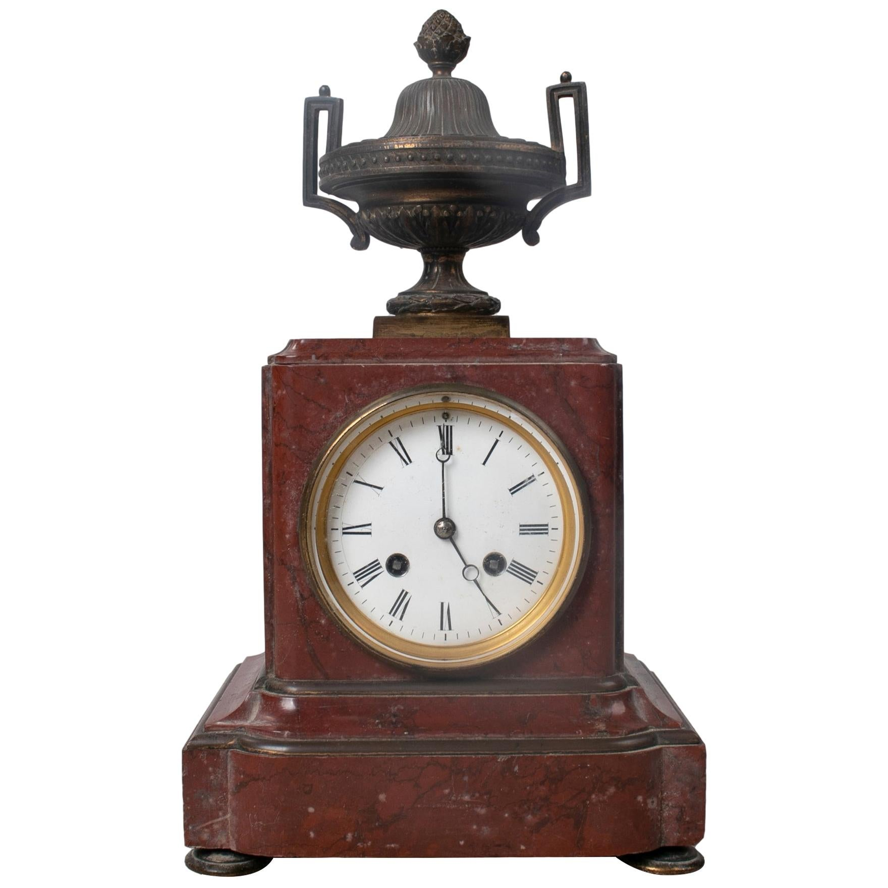 19th Century French Bronze Urn and Marble Table Clock