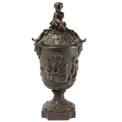 19th Century French Bronze Urn Bacchus and Putti