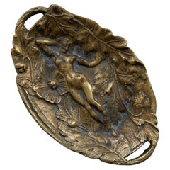 19th Century French Bronze Vide Poche Pin Tray with Woman's Figure
