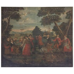 19th Century French Bucolic Tapestry on Framework