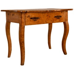 19th Century French Burl Elm Console Table