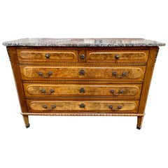 19th Century French Burl Walnut Commode with Grey Marble Top