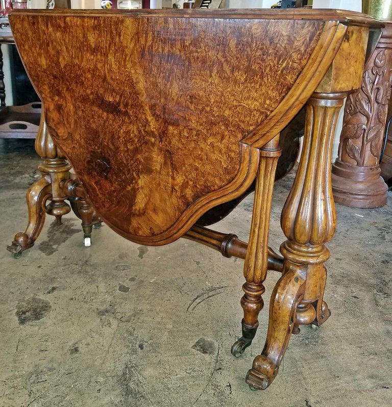 19th Century English Burl Walnut Sutherland Table For Sale 8