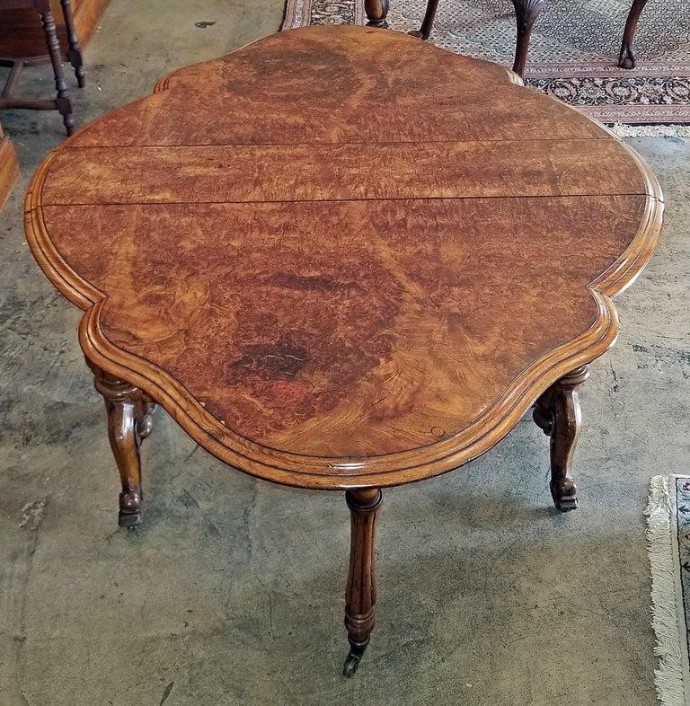 19th Century English Burl Walnut Sutherland Table For Sale 12