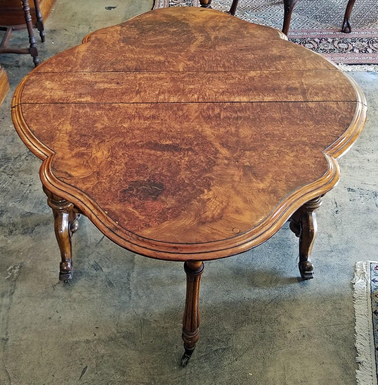 High Victorian 19th Century English Burl Walnut Sutherland Table For Sale