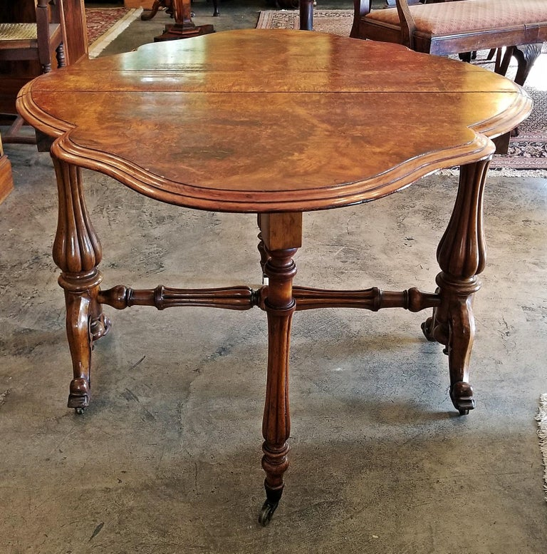 Hand-Crafted 19th Century English Burl Walnut Sutherland Table For Sale