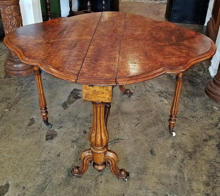 19th Century English Burl Walnut Sutherland Table For Sale 2