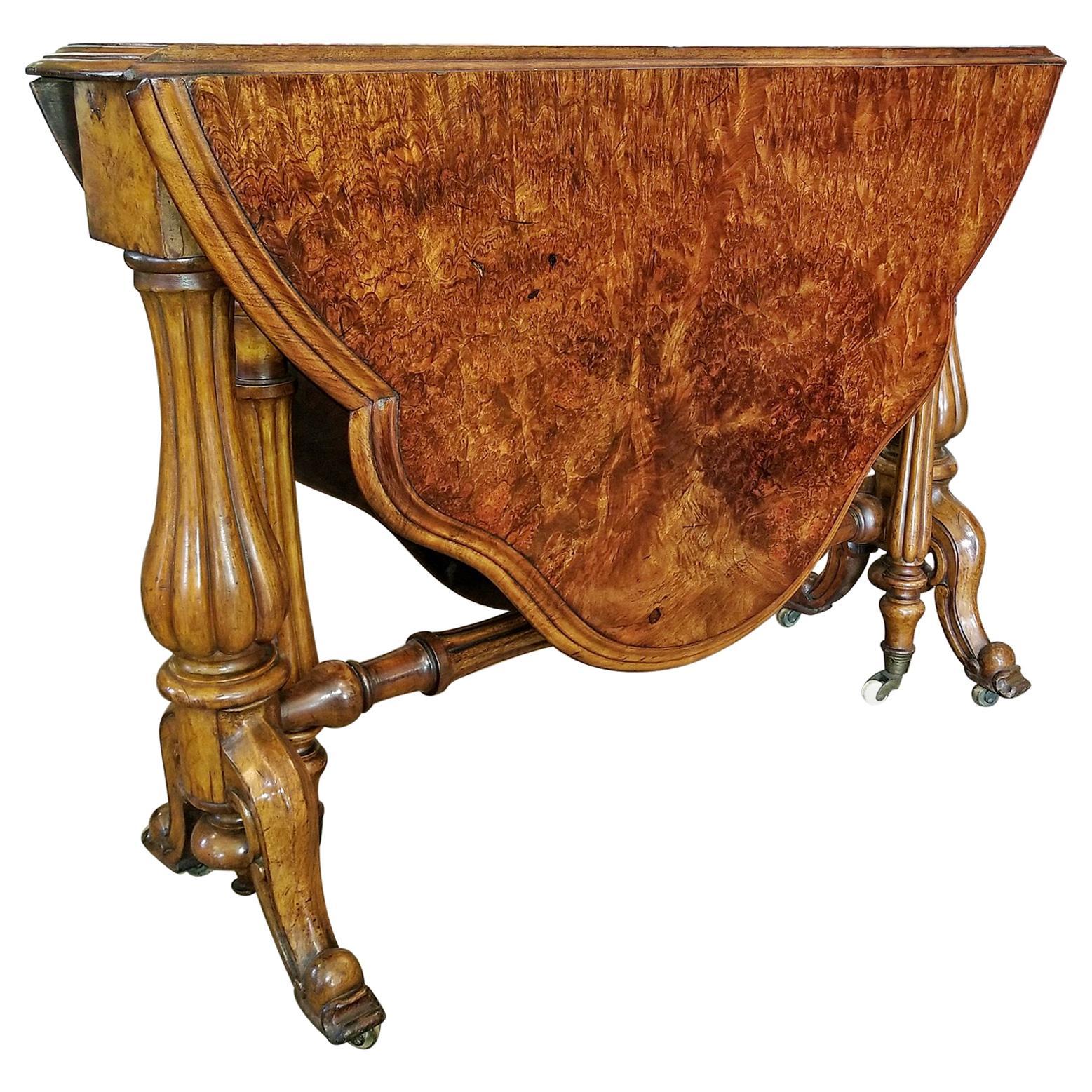 19th Century English Burl Walnut Sutherland Table