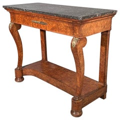 19th Century French Burr Walnut Console Table with Brass Mounts and Marble Top