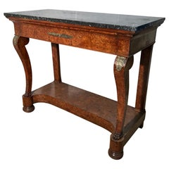 19th Century French Burr Walnut Console Table with Charcoal Marble Top