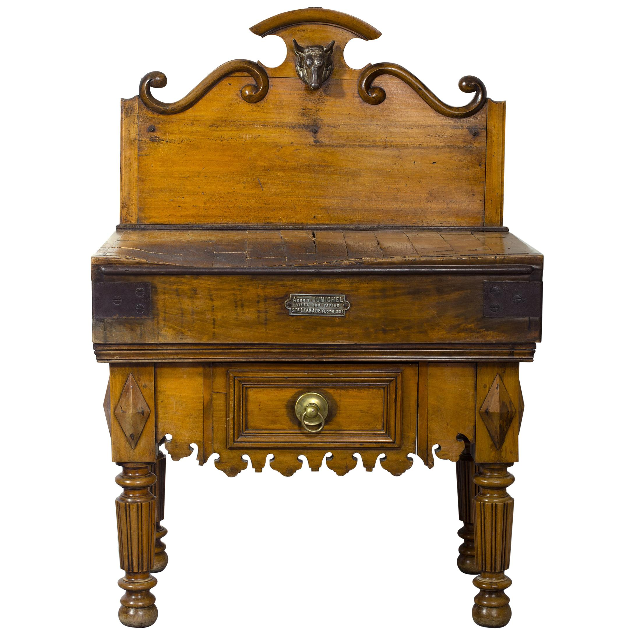 19th Century French Butcher Block with Drawer