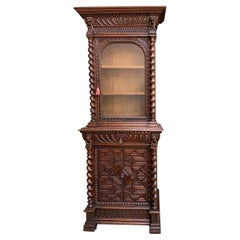 19th Century French Cabinet Bookcase Carved Oak Barley Twist Display Renaissance