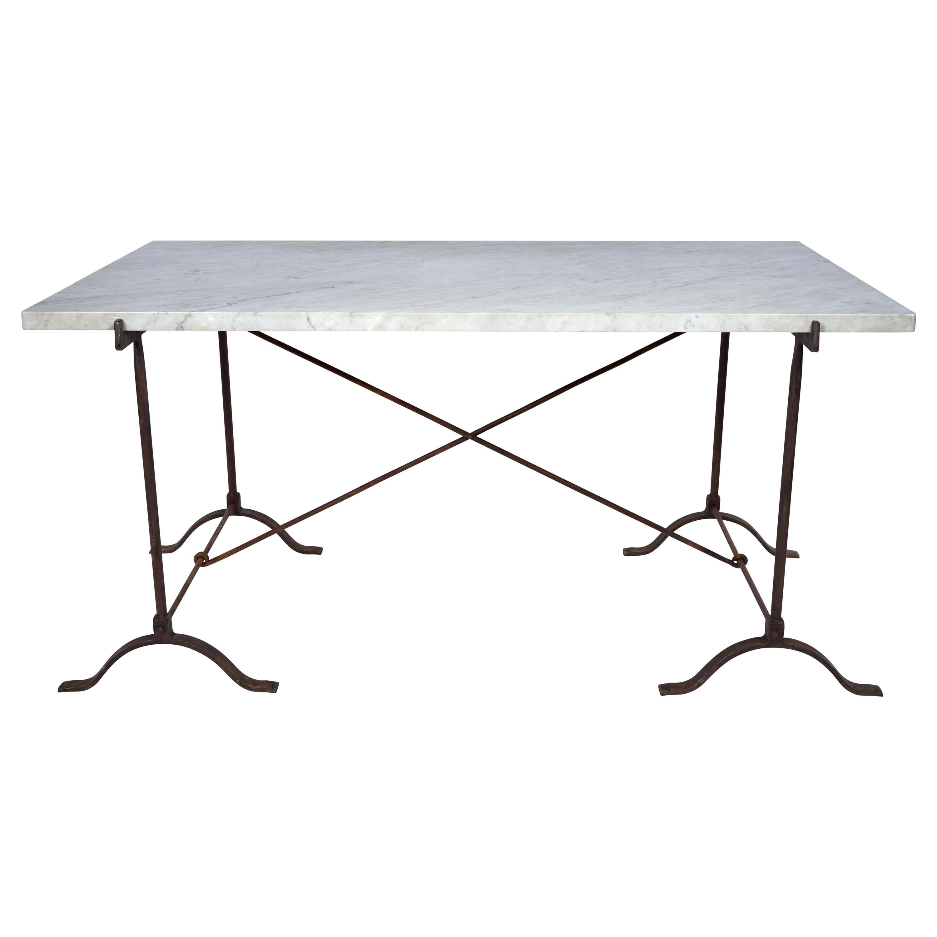 19th Century French Campaign Marble Table