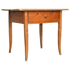 Antique French Canadian Yellow Pine Work Table