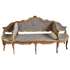 19th Century French Cane Settee