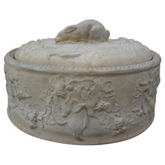 19th Century French Caneware Game Pie Dish or Tureen with Liner