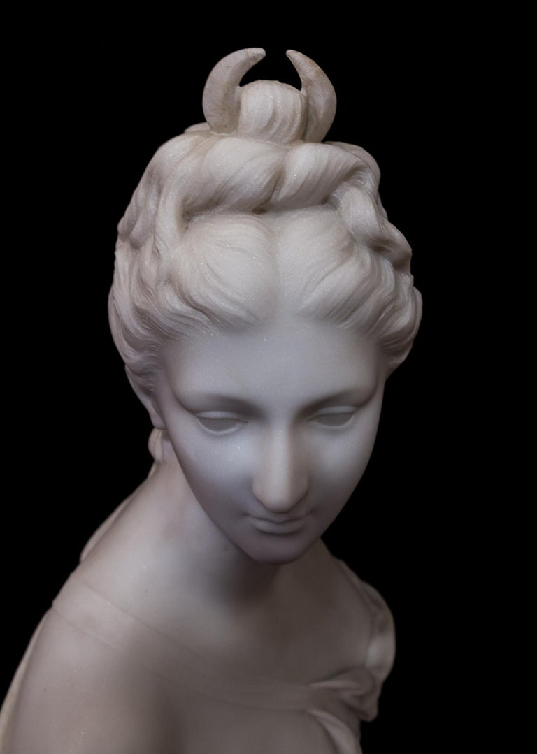 19th Century French Carrara White Marble Bust, Diana Goddess of the Hunt For Sale 5