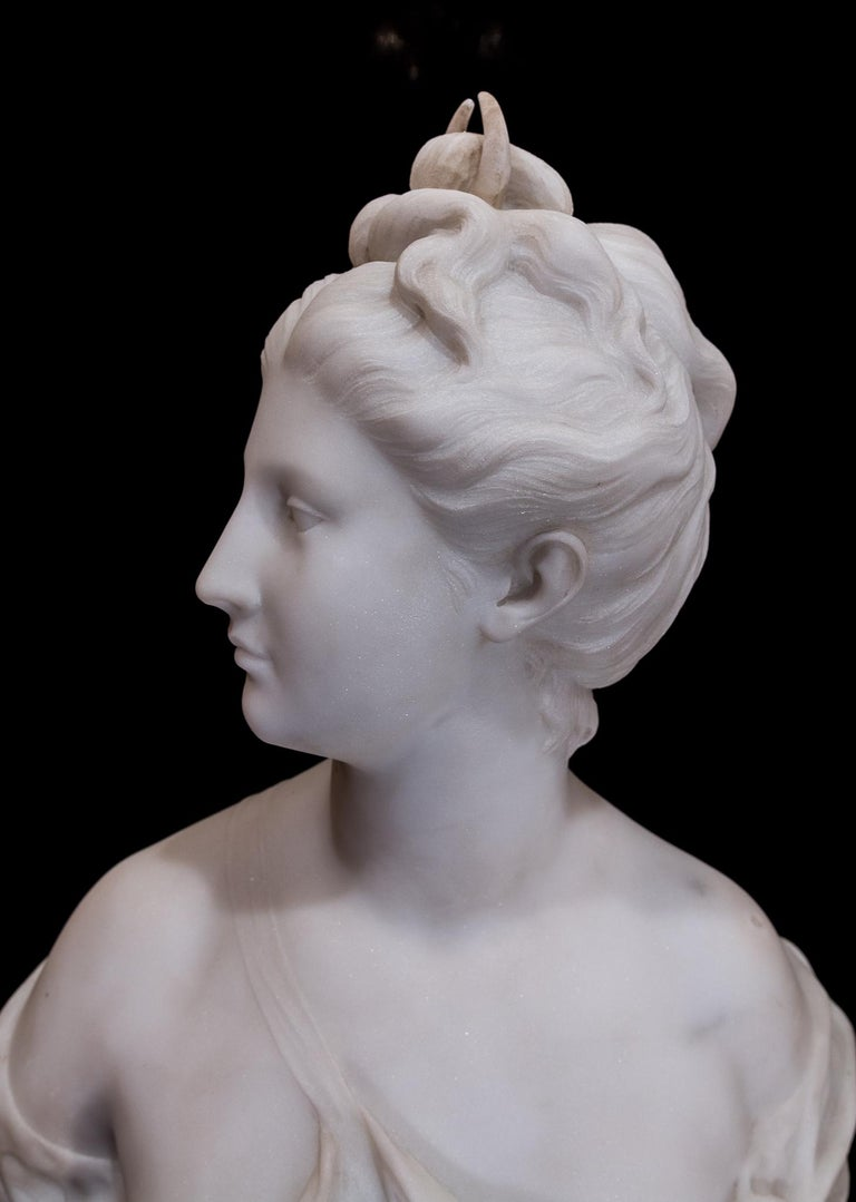 19th Century French Carrara White Marble Bust, Diana Goddess of the Hunt For Sale 6