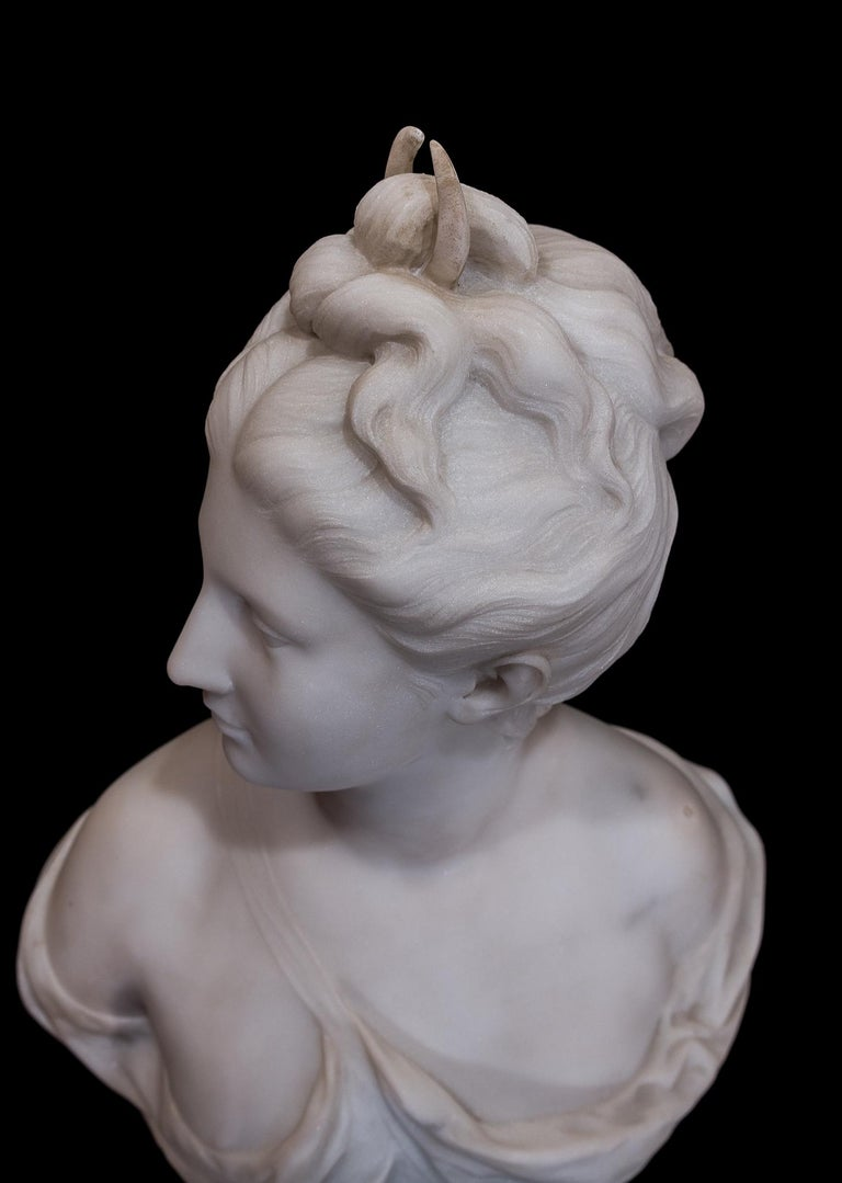 19th Century French Carrara White Marble Bust, Diana Goddess of the Hunt For Sale 7