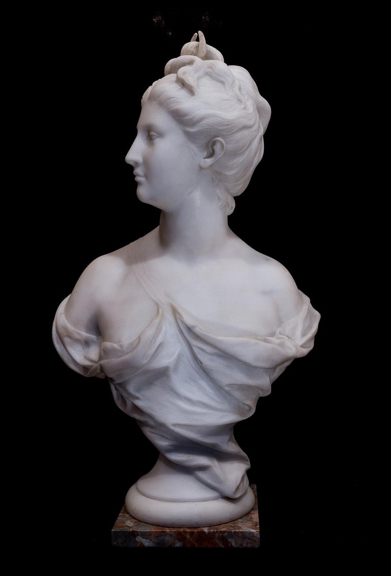 Carved 19th Century French Carrara White Marble Bust, Diana Goddess of the Hunt For Sale