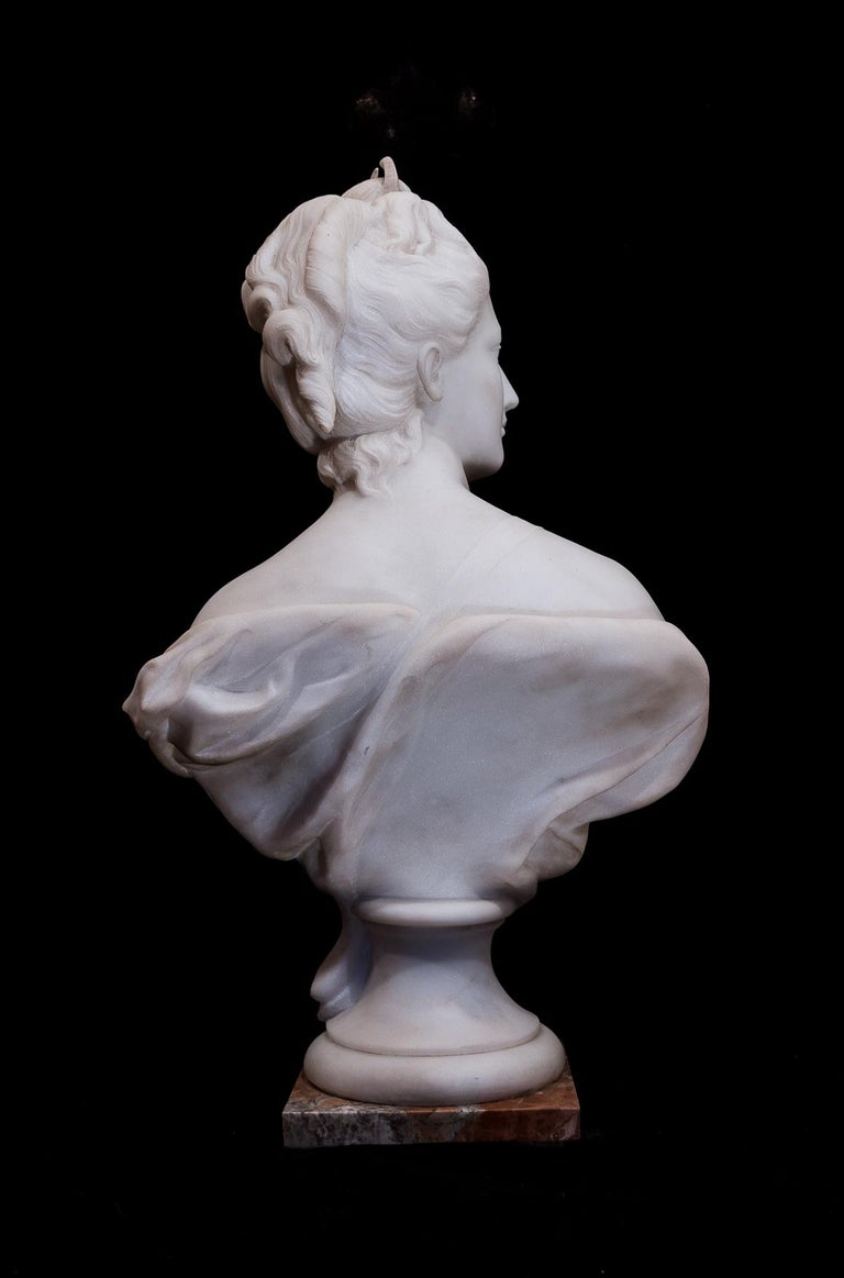 Carrara Marble 19th Century French Carrara White Marble Bust, Diana Goddess of the Hunt For Sale