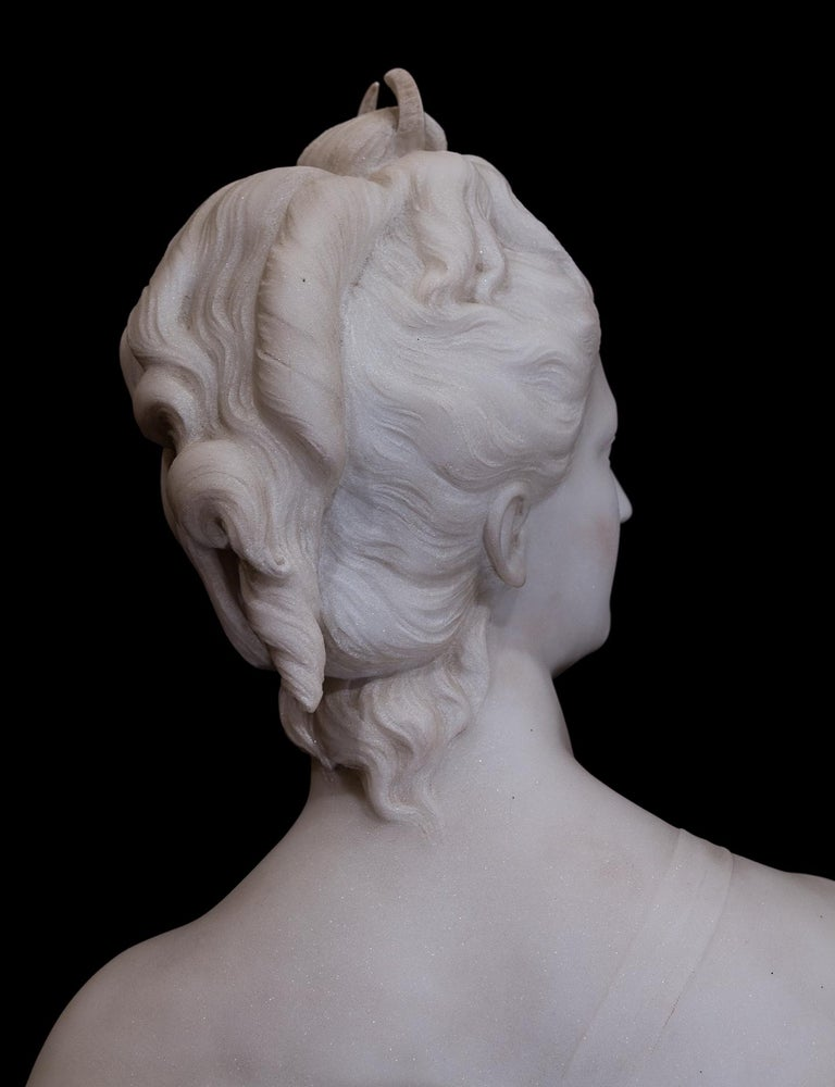 19th Century French Carrara White Marble Bust, Diana Goddess of the Hunt For Sale 1