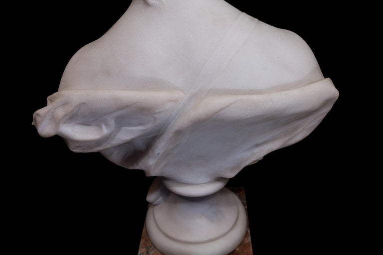 19th Century French Carrara White Marble Bust, Diana Goddess of the Hunt For Sale 2