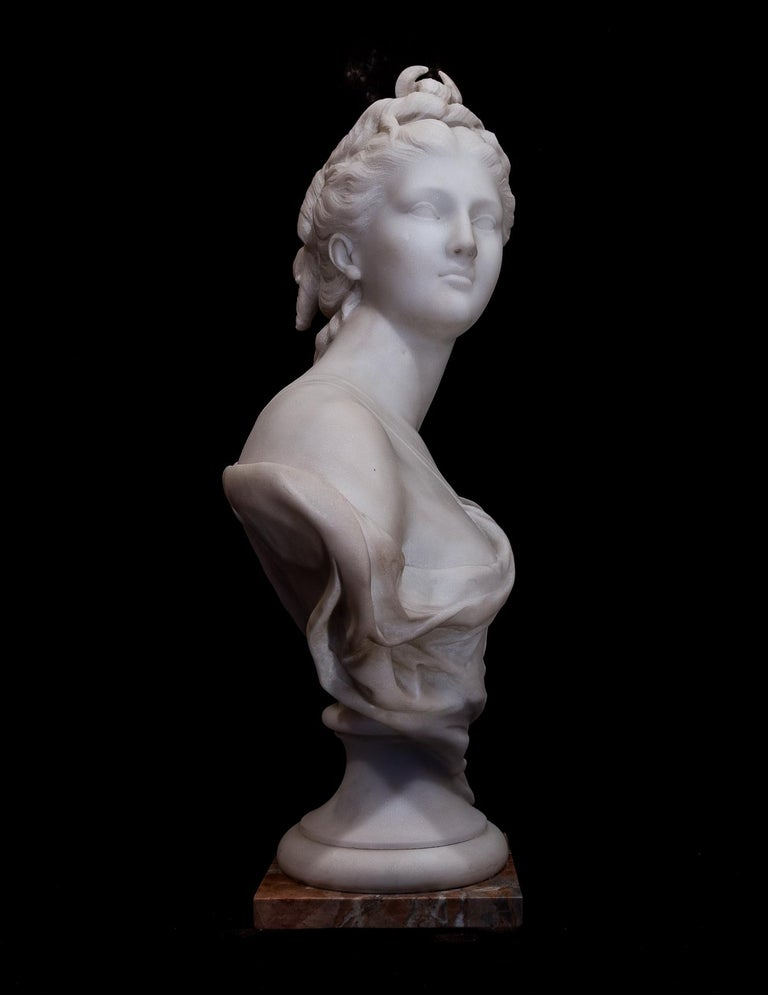 19th Century French Carrara White Marble Bust, Diana Goddess of the Hunt For Sale 3