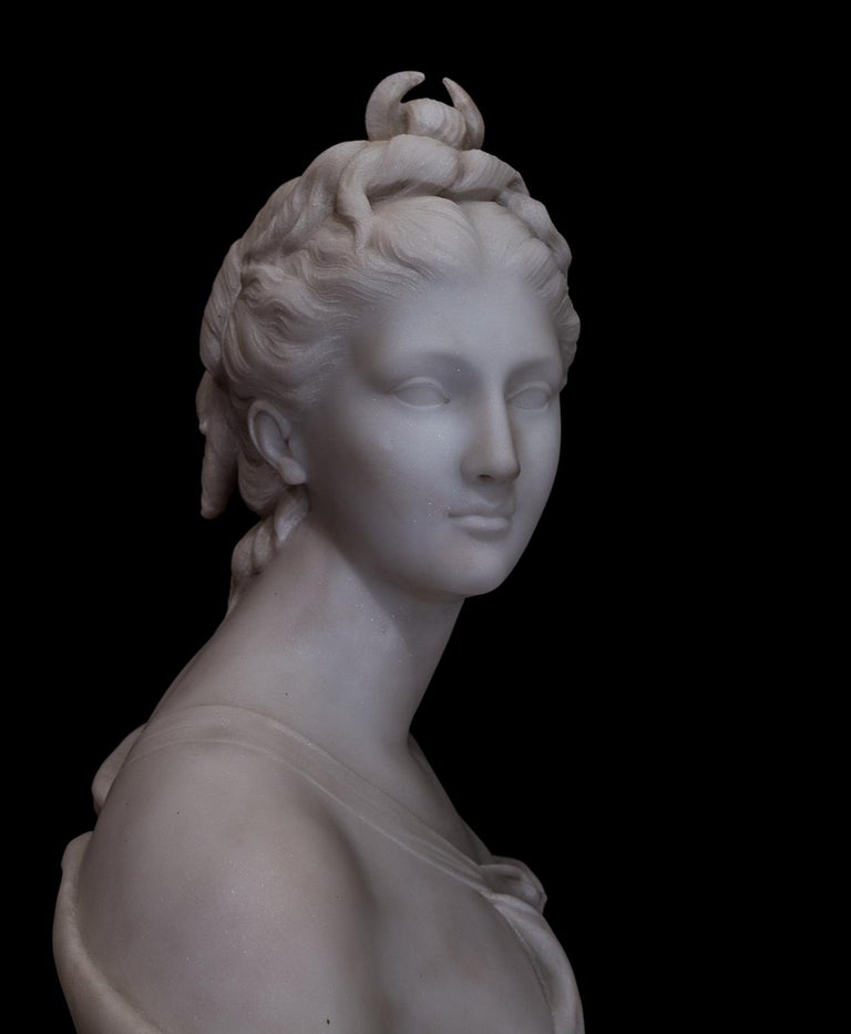 19th Century French Carrara White Marble Bust, Diana Goddess of the Hunt For Sale 4