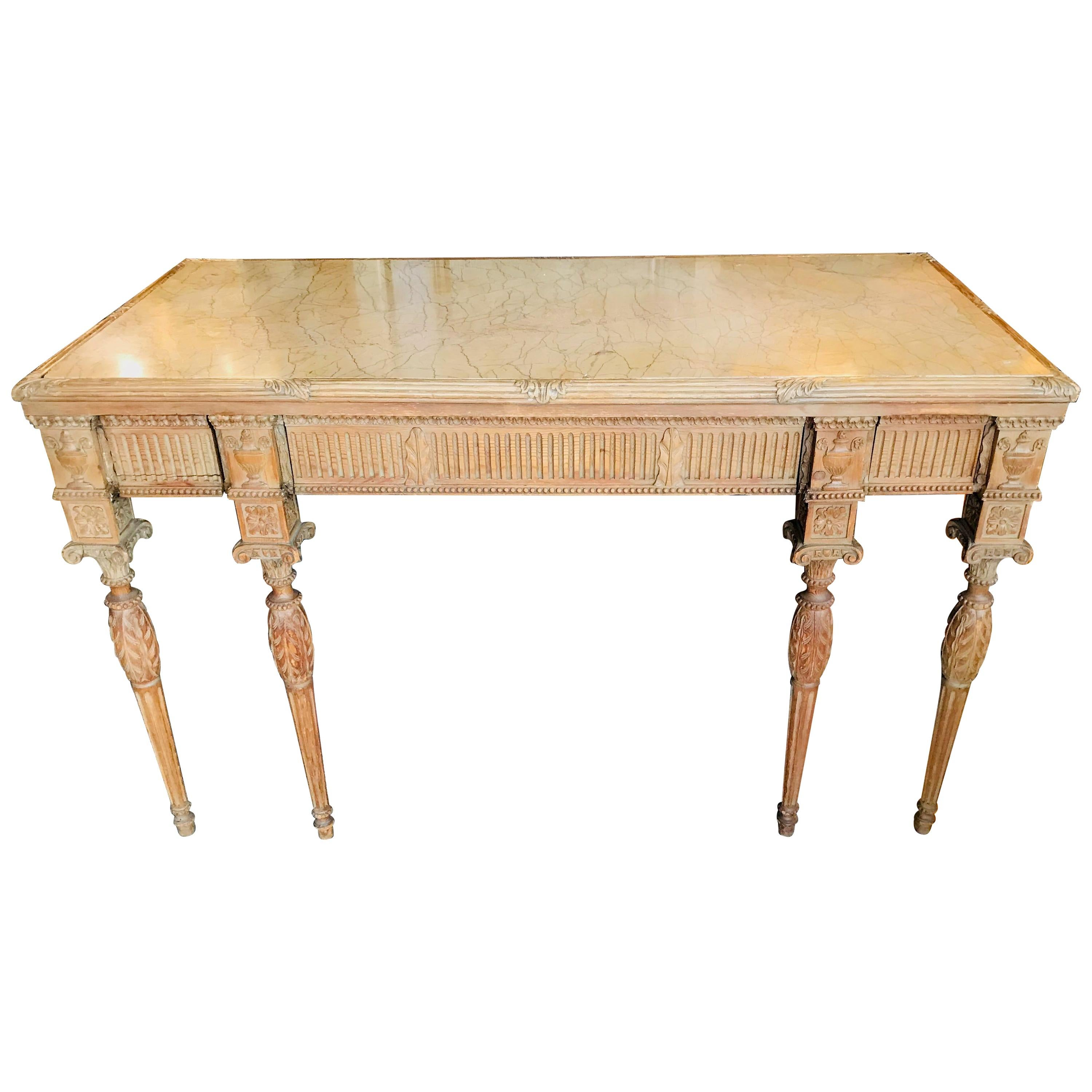 19th Century French Carved 3-Drawer Marble-Top Pine Console