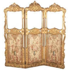 19th Century French Carved and Gilded Three-Panel Screen with Aubusson Tapestry