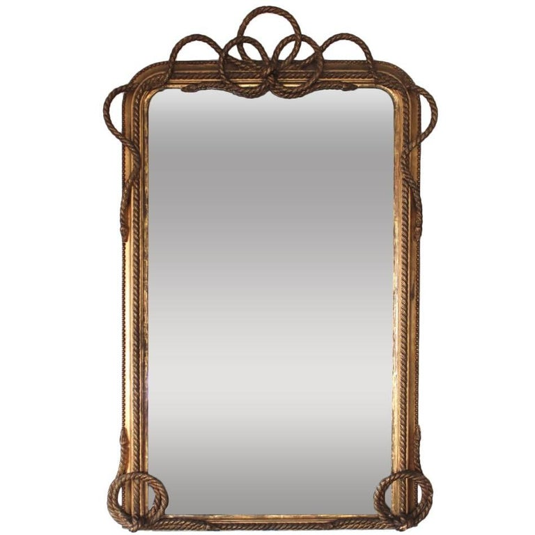 19th Century French Carved and Gilt Rope Mirror