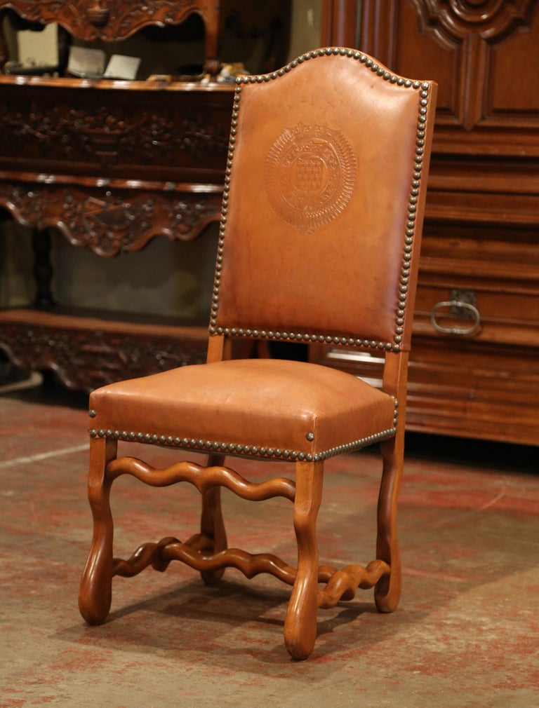 Patinated 19th Century French Carved and Leather Sheep Bone Dining Chairs- Set of Eight For Sale
