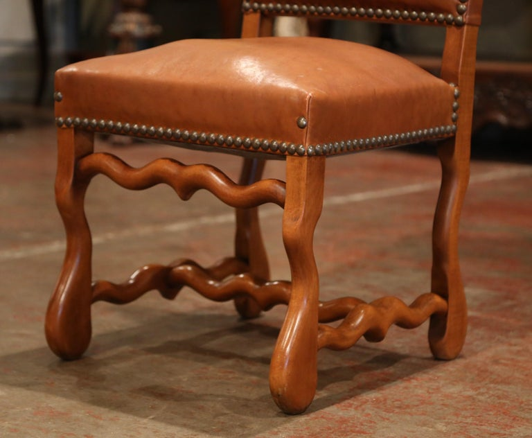 19th Century French Carved and Leather Sheep Bone Dining Chairs- Set of Eight In Excellent Condition For Sale In Dallas, TX