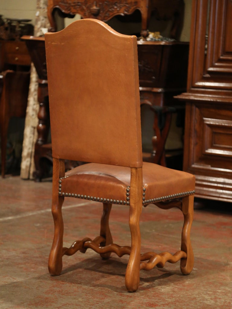 19th Century French Carved and Leather Sheep Bone Dining Chairs- Set of Eight For Sale 3