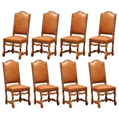 19th Century French Carved and Leather Sheep Bone Dining Chairs- Set of Eight