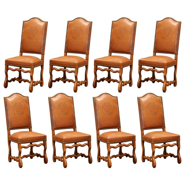 19th Century French Carved and Leather Sheep Bone Dining Chairs- Set of Eight For Sale