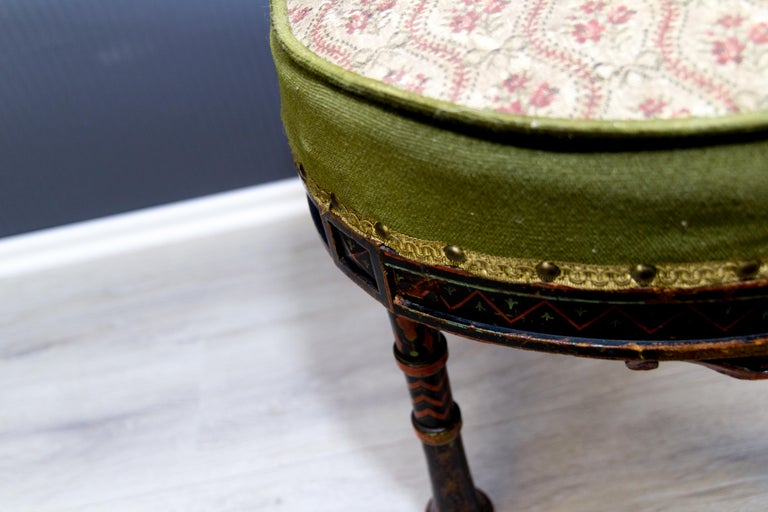 19th Century French Carved and Painted Smoking Chair For Sale 7