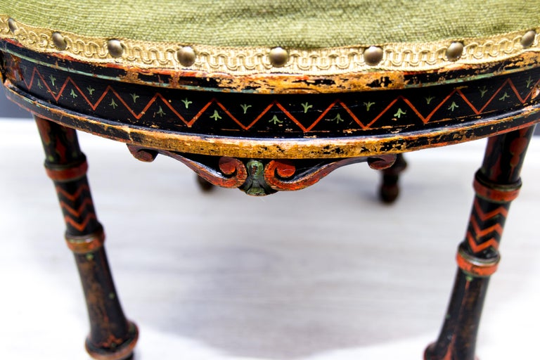 19th Century French Carved and Painted Smoking Chair For Sale 8