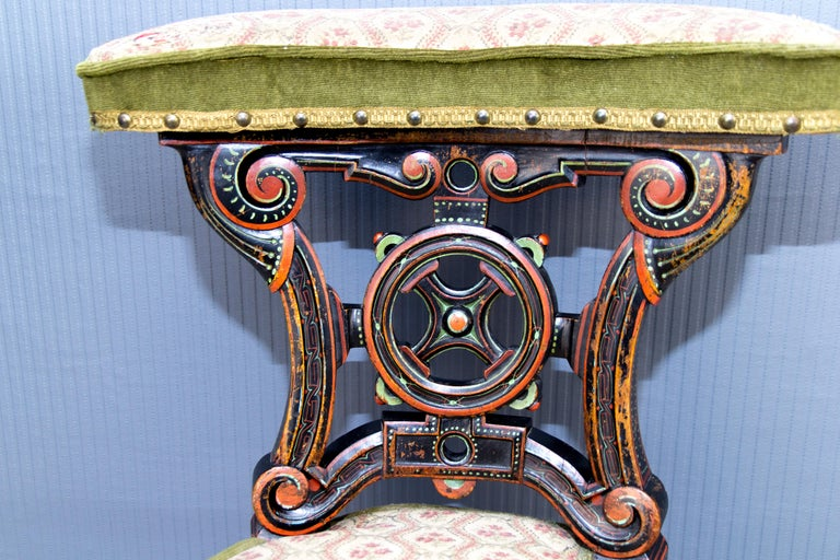 19th Century French Carved and Painted Smoking Chair For Sale 10