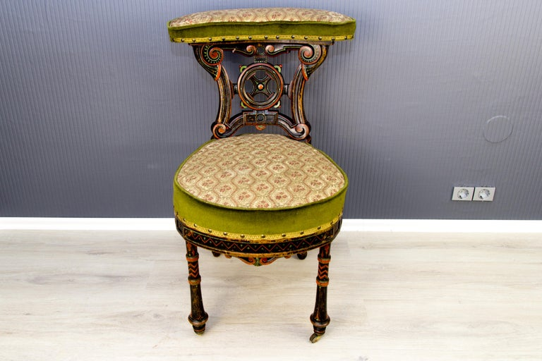 19th Century French Carved and Painted Smoking Chair In Fair Condition For Sale In Barntrup, DE